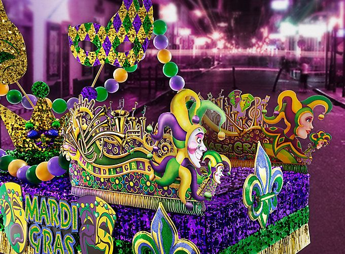 Mardi Gras Float Effect Using Pre Made Decorations And