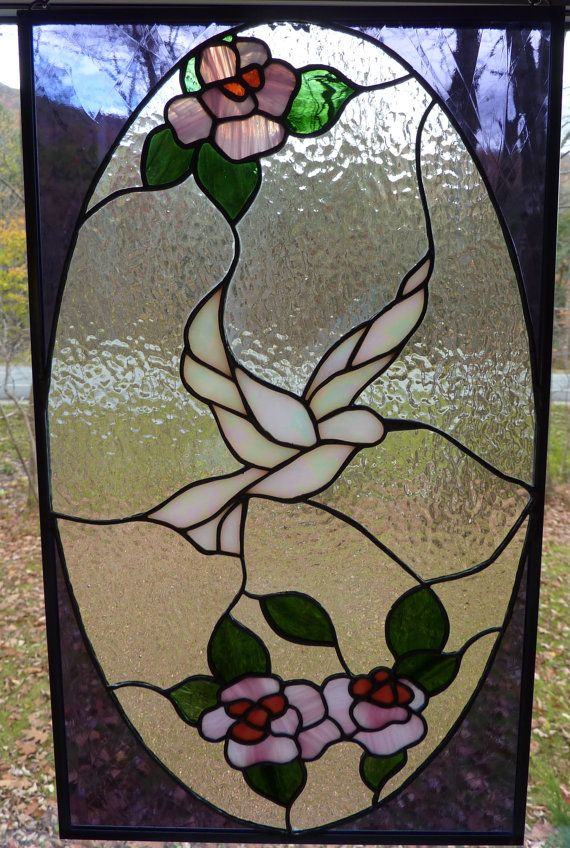 Dove in Flight Stained Glass Panel by WildwindsGlass on Etsy, $149.00