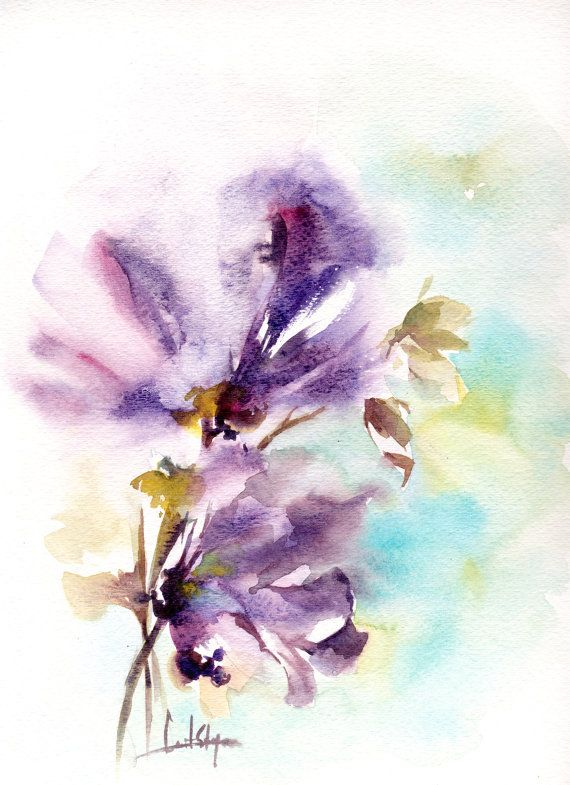 Abstract Flowers Original Watercolor Painting Abstract Fleurs