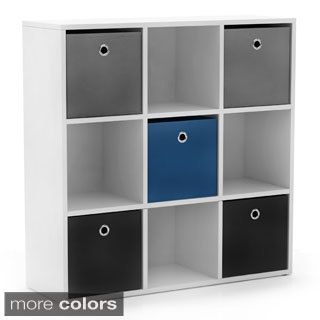 Simple Living U0027Jolieu0027 White Bookcase With Five Fabric Bins   Overstock  Shopping   Great Deals On Simple Living Kidsu0027 Storage