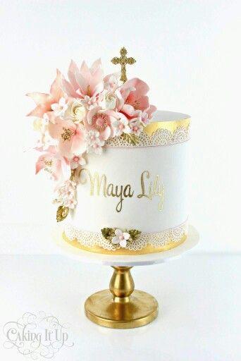 Baptism  Communion cake  Pink flowers cake  | Cake's | Holy