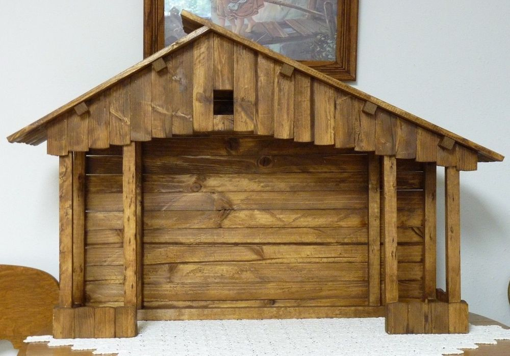 Large Handmade Nativity Stable | Nativity stable ...