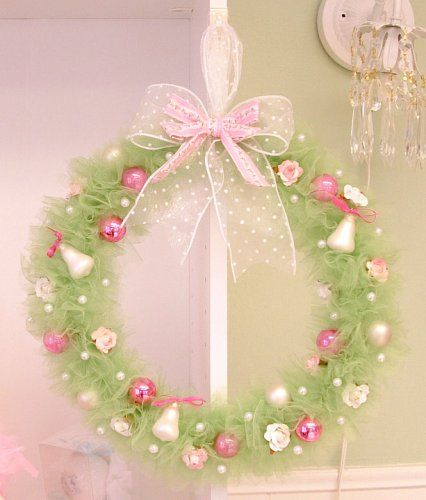 Green Tulle Wreath No Instructions Tulle Wreaths Pinterest