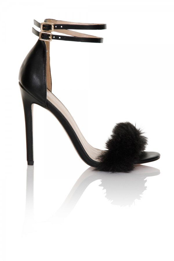 eb5e6ae26b Little Mistress Footwear Black Fur / Double Ankle Strap Heel | Shoes ...