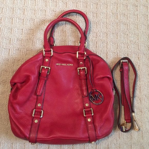 340e2037f653 ... uk authentic michael kors red bedford bowling satchel u2022authentic michael  kors red bedford bowling satchel u2022gently