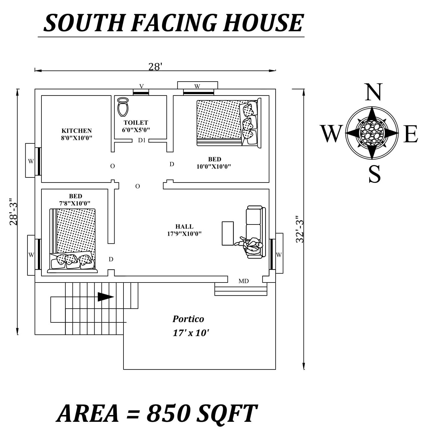28 X28 2bhk Furnished Awesome South Facing House Plan As Per Vastu Shastra In 2020 South Facing House 2bhk House Plan Little House Plans