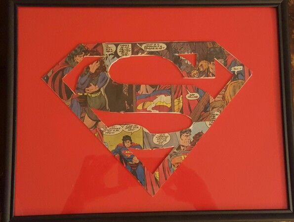 Superman comic book handmade framed logo by Brandy Nicole
