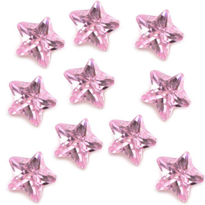 Pink Zirconia Crystal Star Floating Charm Living Memory Locket Pendant Necklace #FloatingCharm