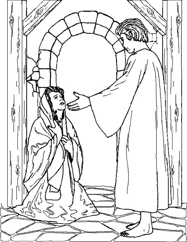 Mary And Angel Gabriel Coloring Page - Learning How to Read