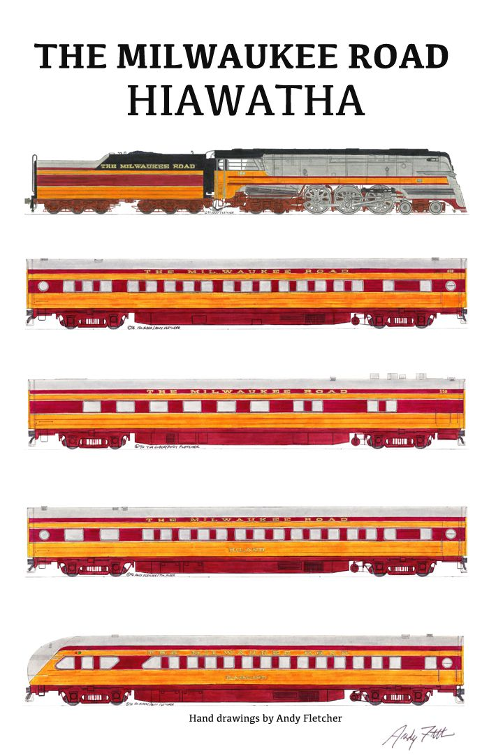 The Milwaukee Road Hiawatha passenger train with hand