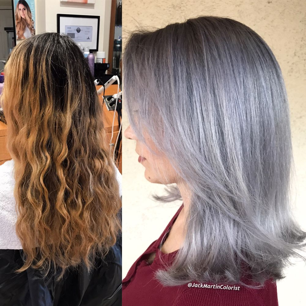 Color Correction From Brassy To Lavender Infused Silver Hair