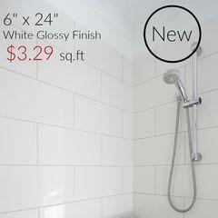 "6"" x 24"" white glossy ceramic wall tile $3.29 per square"