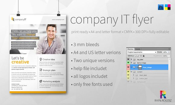 Company It Flyer Magazine Ads File Format And Fonts