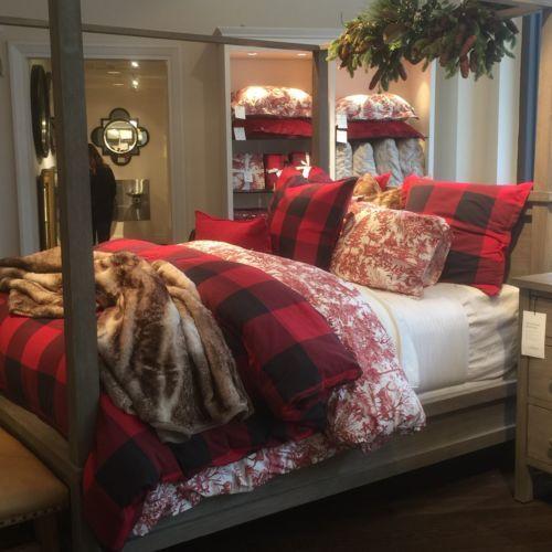 New Pottery Barn Buffalo Check King Duvet Cover 2 King Size Shams Free Ship Winter Home Decor Christmas Decorations Bedroom Holiday Bedroom