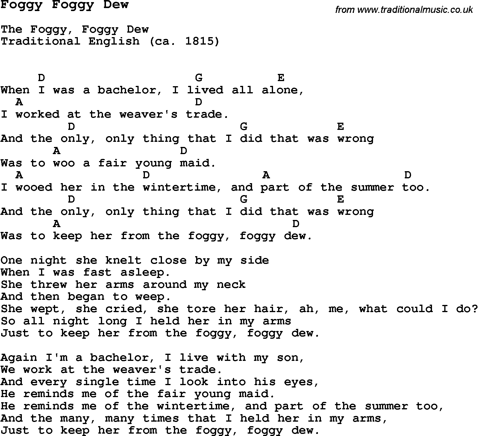 Traditional song foggy foggy dew with chords tabs and lyrics traditional song foggy foggy dew with chords tabs and lyrics hexwebz Images