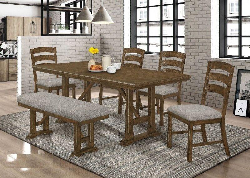 Casa Blanca 6 Pc Tucson Weathered Oak Finish Wood Dining Table Set