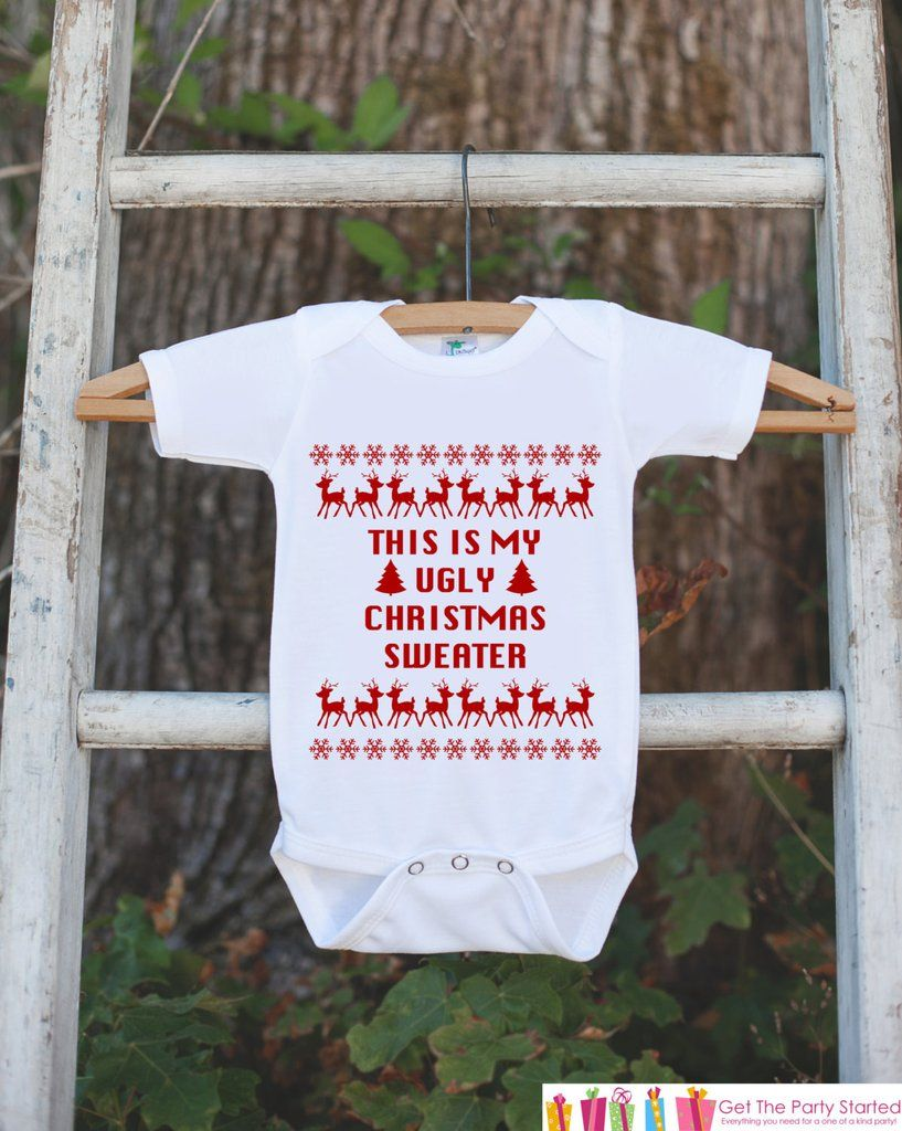 Ugly Christmas Sweater for Kids - Christmas Outfit - Christmas Onepiece - Baby Holiday Sweater Party - Newborn Bodysuit for Boy or Girl