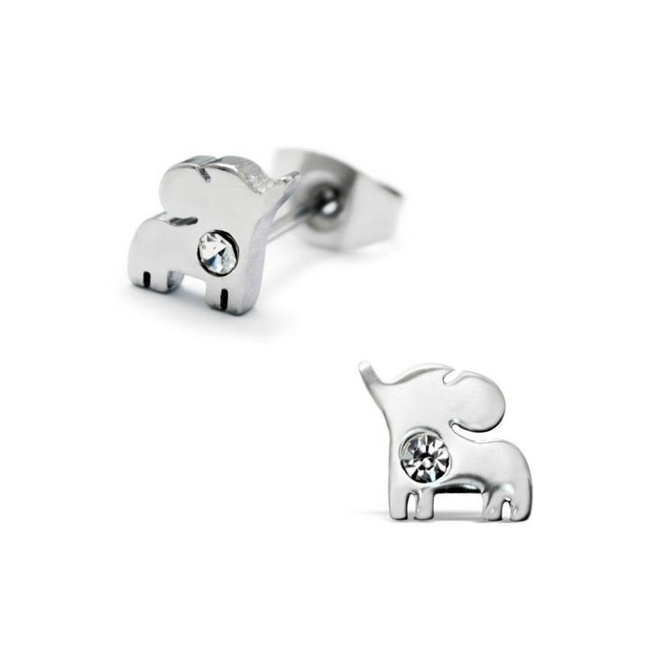 Childrens earrings surgical steel baby elephants with