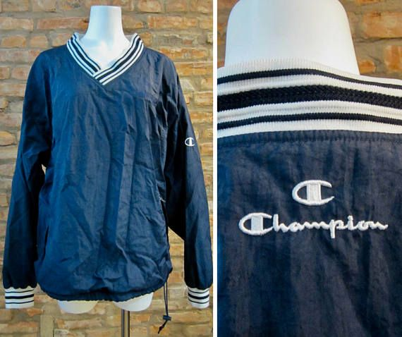 VINTAGE Champion Jacket Adult Extra Large Blue Spell Out Full Zip Windbreaker