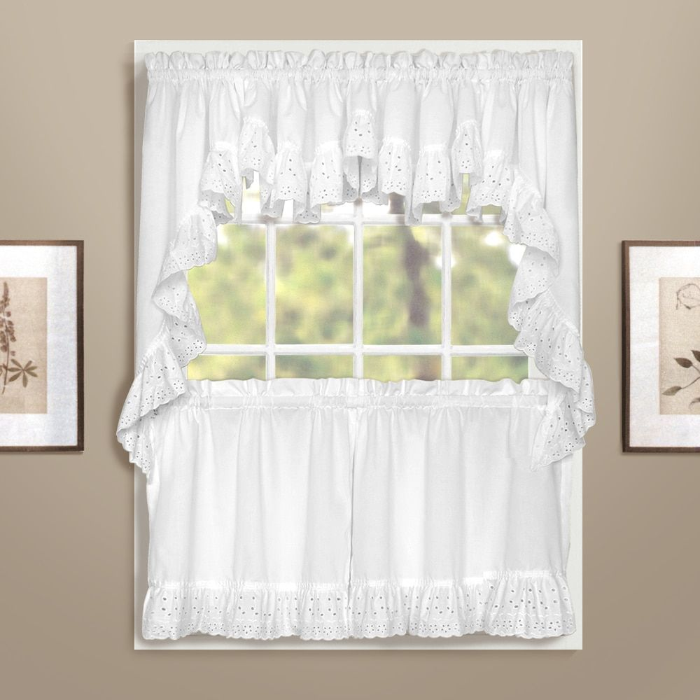 Luxury window coverings  united vienna kitchen tiers double crescent valance white cotton