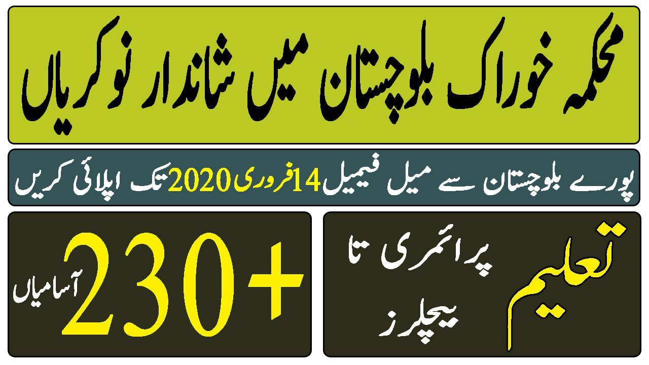 Food Department Balochistan Jobs Govt Jobs in