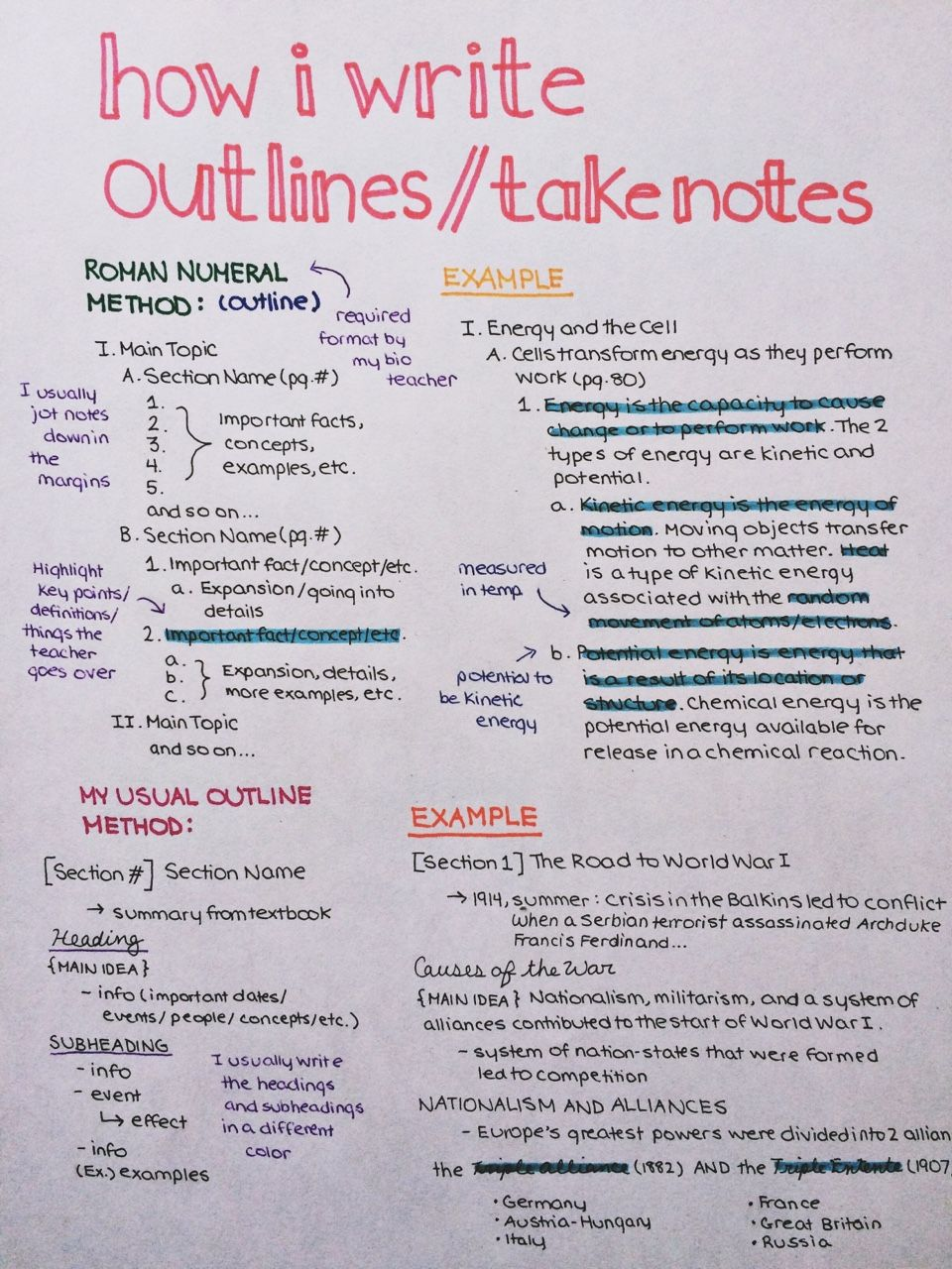 Things I Adore · How I Write Outlines Take Notes For