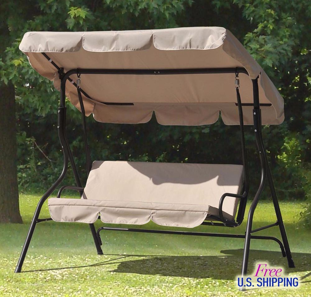 Large Porch Swing Canopy Cushioned Metal Frame Stand Patio Garden