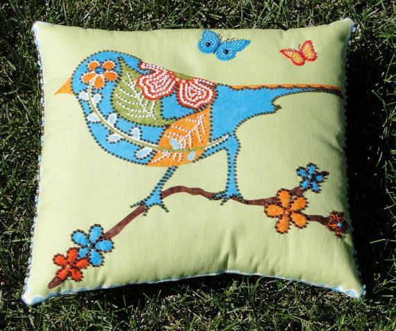 Nature Bird with Leaves Flowers and Butterflies by thebeadedpillow, $50.00