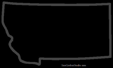 Montana Map Outline Printable State Shape Stencil Pattern Map Outline Pattern Printable Patterns