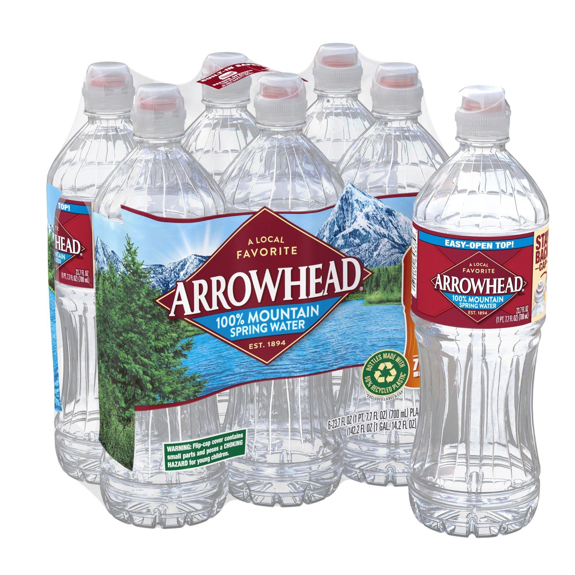 Arrowhead Brand 100 Mountain Spring Water 6pk 23 7 Fl Oz Sports Cap Bottles In 2020 Mountain Spring Water Spring Water Bottle