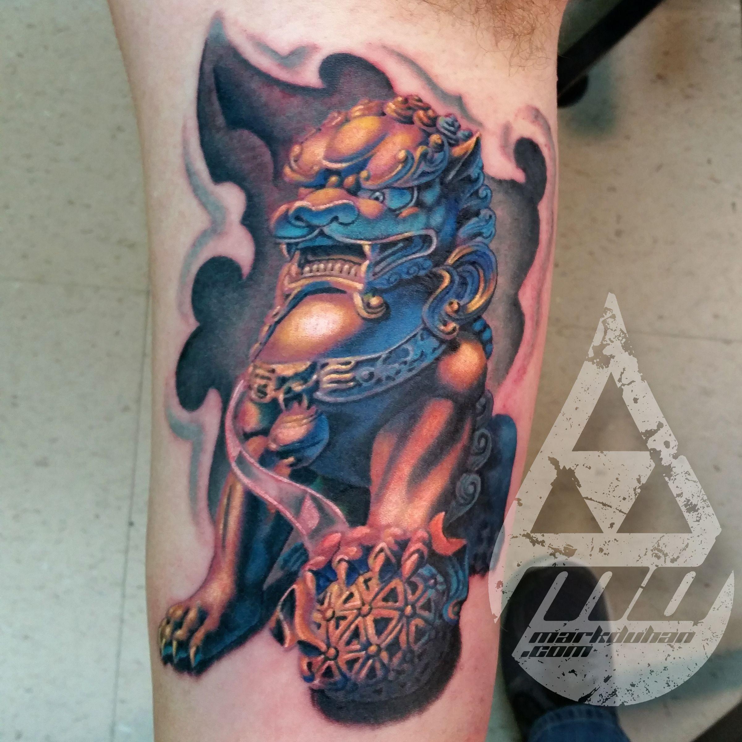 Tool box tattoo by mark old school tattoos by mark pinterest - Gold Foo Dog Tattoo By Mark Duhan