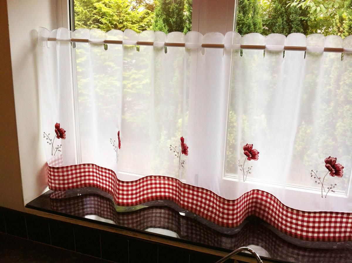 Poppies Cafe Curtain Panel White/Red | Cafe curtains and Cafes