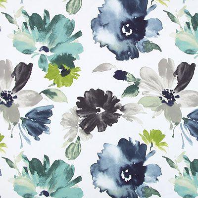 Acuarela Flowers 2 - Algodón - Poliéster - petroleo