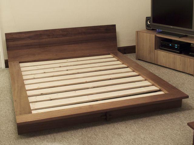 Iroko platform bed - Bespoke handmade bedroom furniture, Brighton, Sussex