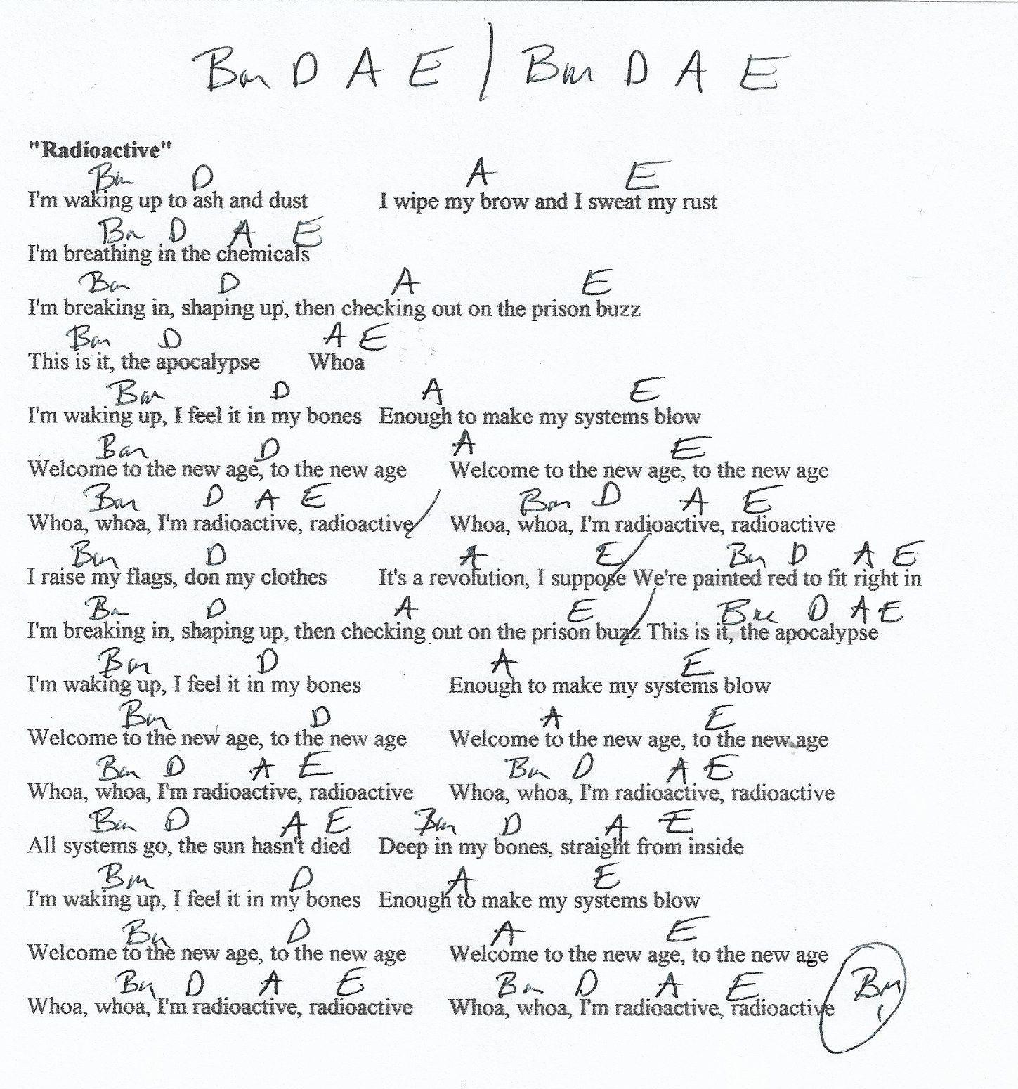 Radioactive (Imagine Dragons) Guitar Chord Chart - Bm D A ...