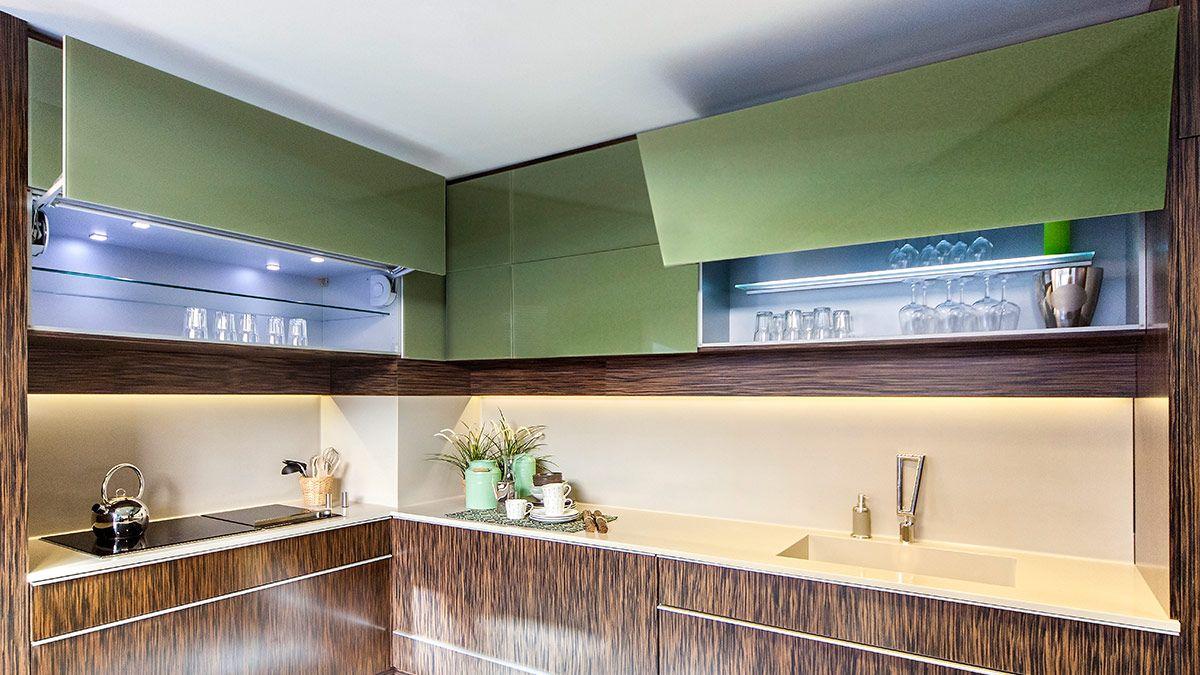 Cocina Moderna Verde Y Marr N Serie Stuttgart Muebles De Cocina  # Muebles Marrones