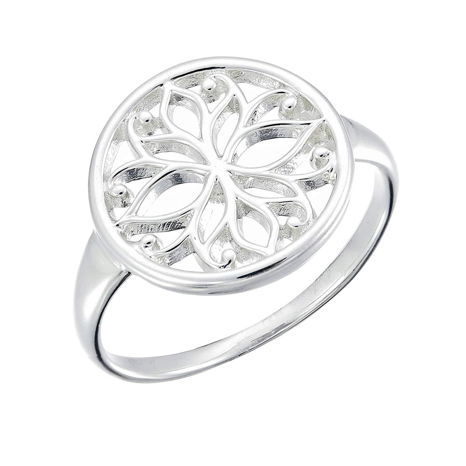 Boma jewelry sterling silver lotus flower circle ring
