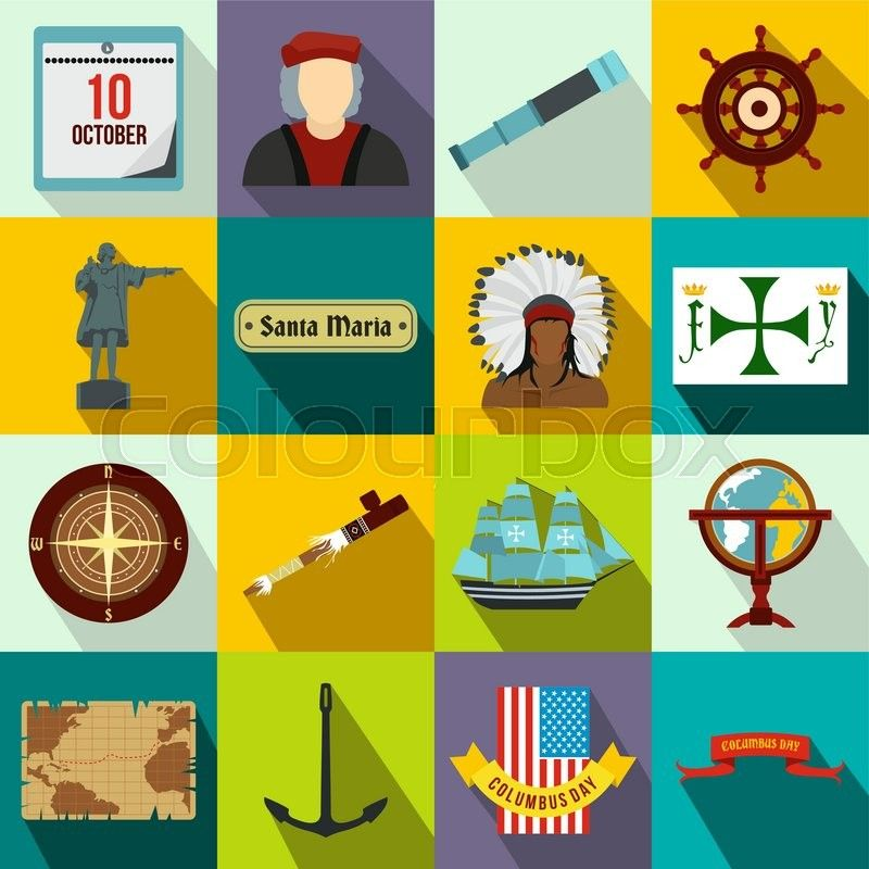 Happy Columbus Day Flat Icons Set For Web And Mobile Devices Stock Vector Colourbox On Colourbox Happy Columbus Day Flat Icons Set Flat Icon