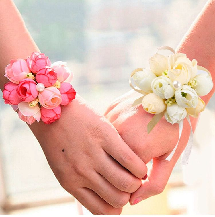 Beautiful Wrist Corsage Bracelet Bridesmaid Sisters Hand Flowers Wedding Party H