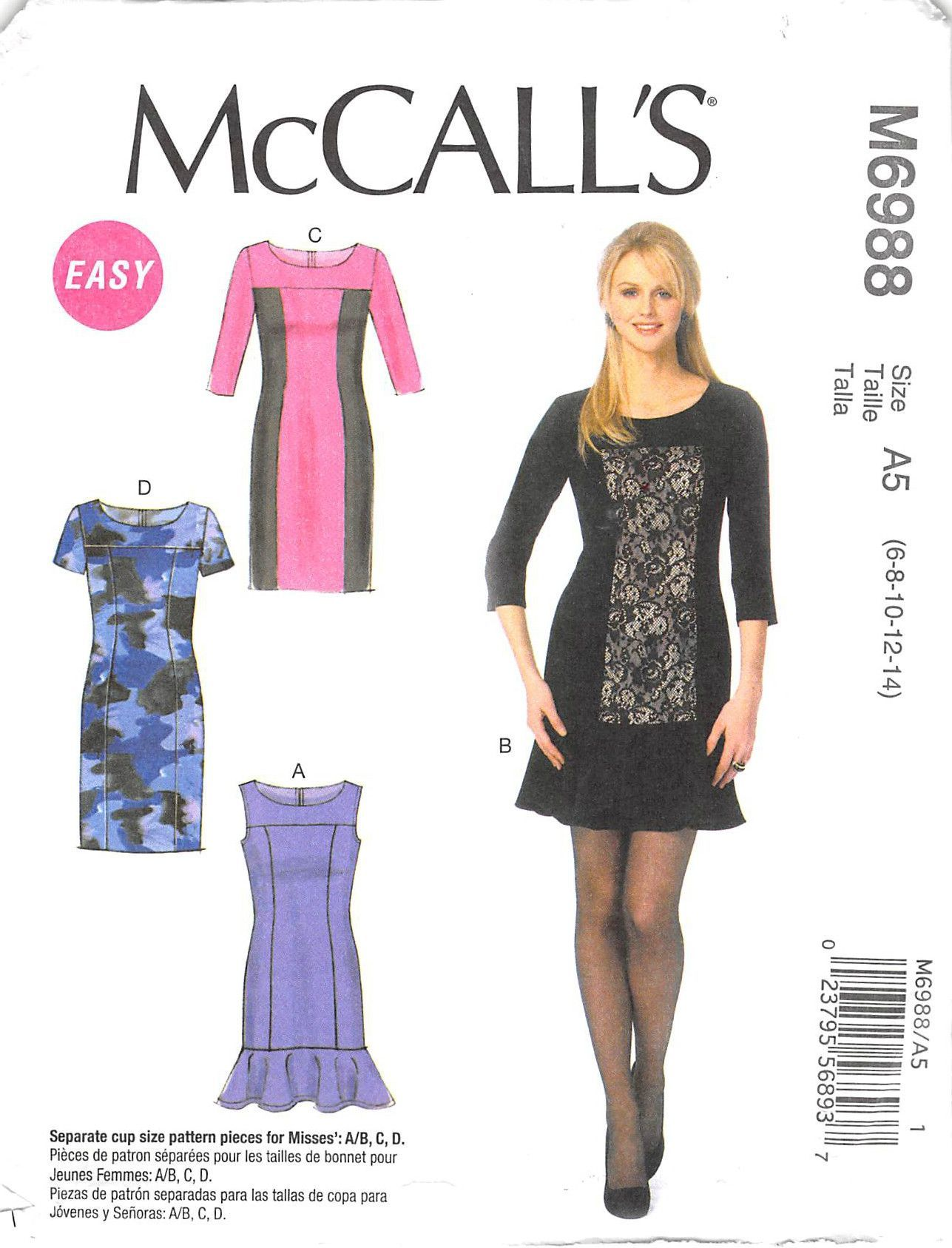 MCCALLS 6988 - FROM 2014 - UNCUT - MISSES DRESS | Sewing | Pinterest ...