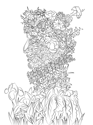 Spring by giuseppe arcimboldo coloring page color books - Arcimboldo coloriage ...