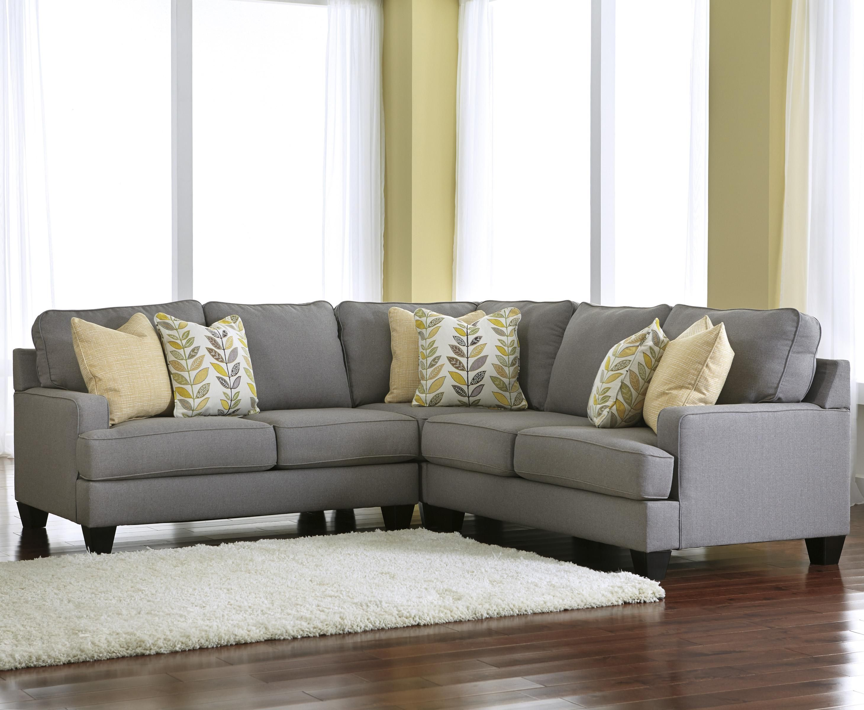 Chamberly Alloy Modern 3 Piece Corner Sectional Sofa with