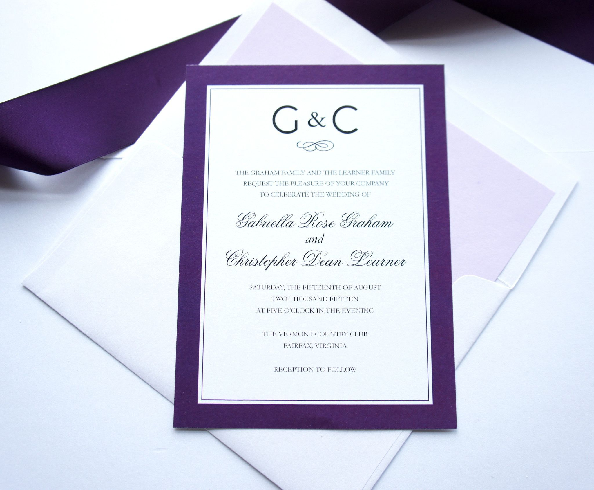 Purple Monogram Wedding Invitation - DEPOSIT | Belly bands, Purple ...