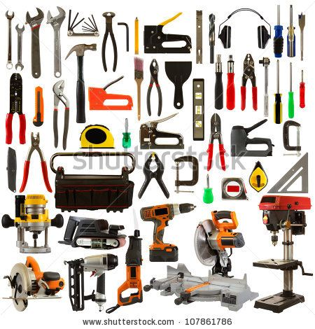 Tool collage isolated on a white background depicting carpentry and construction tools. - stock photo