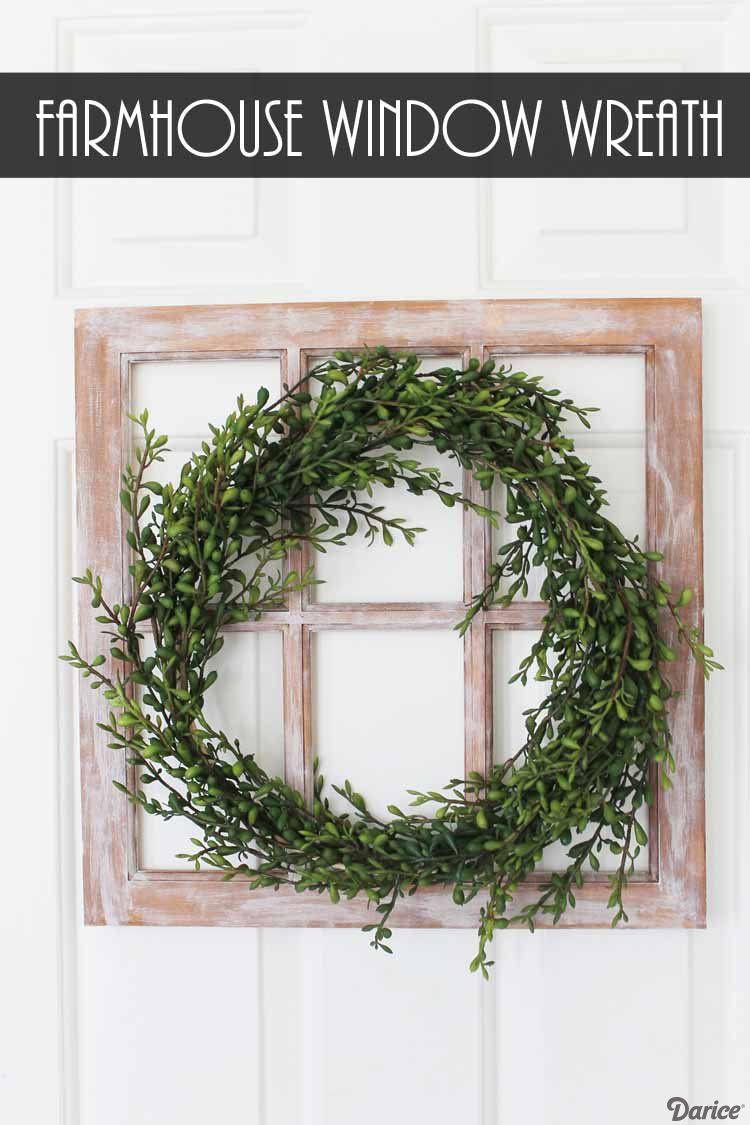 Farmhouse Wreath Diy Window Decoration Darice Diy Home Decor Projects Diy Wreath Indoor Wreath