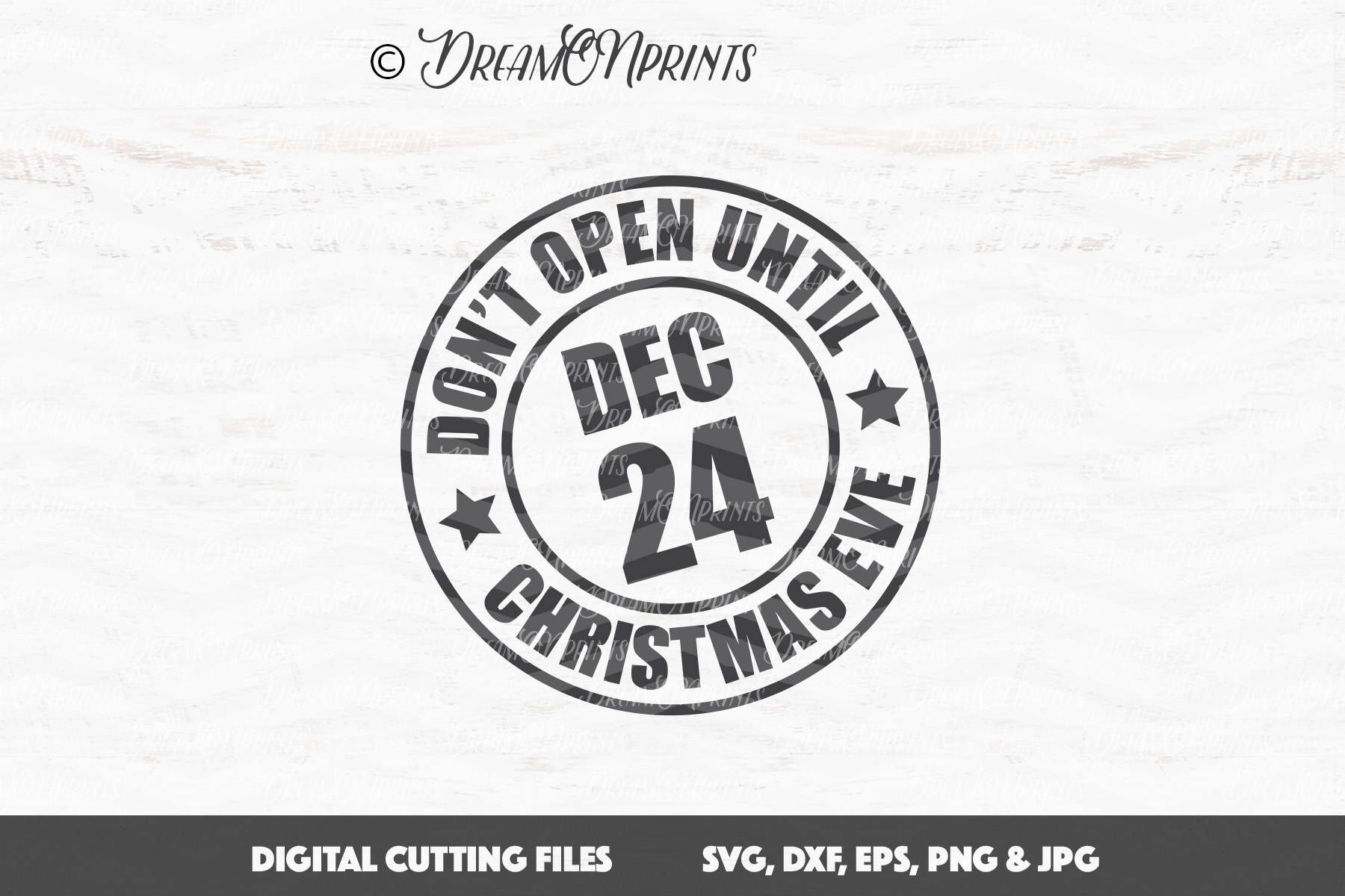 Christmas Stamp SVG, Don\'t Open Until Christmas Eve SVG, Santa ...