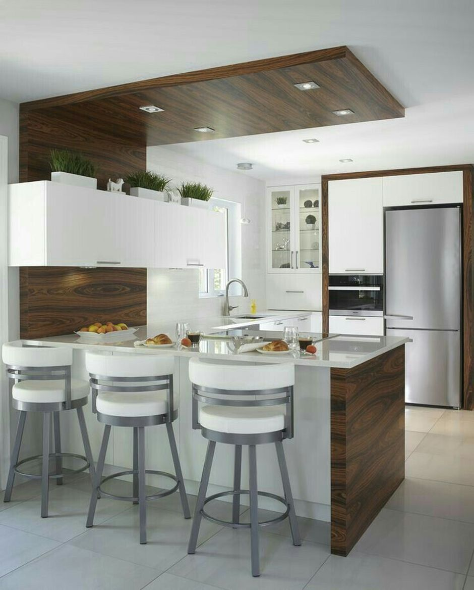 Contemporary Kitchen Suspended Ceiling Of Plasterboard With Spot