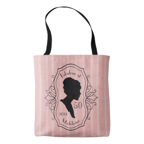 Silhouette Fifty Fab Woman: Fabulous At Fifty Cameo Lady Silhouette Elegant Tote Bag