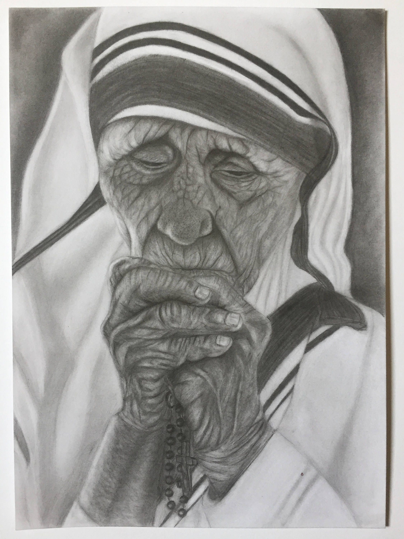 Mother teresa praying original pencil drawing
