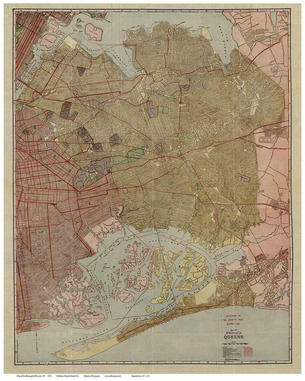 Map Of New York Jamaica.New York City Borough Of Queens 1923 Williams Manhattan Old